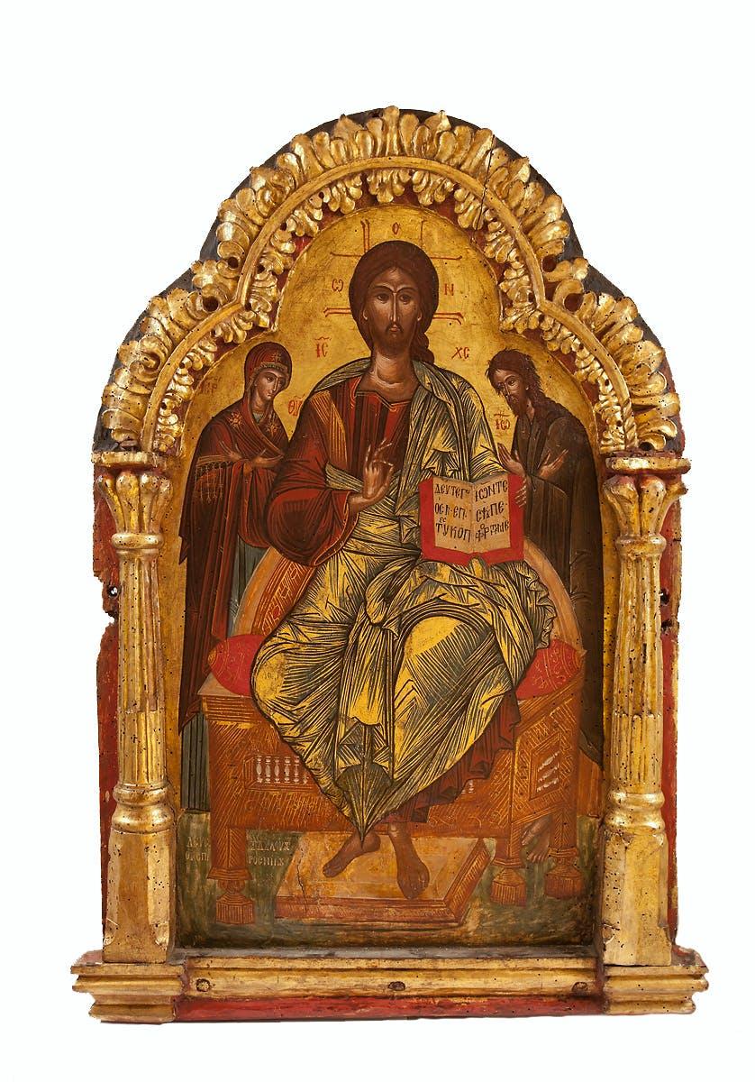 Deesis, Balkan, Ende 16. Jh., 99x69 cm, Tempera auf Kreidegrund, Rahmen geschnitzt