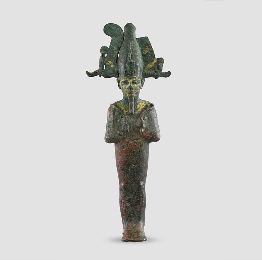 Statuette des Totengottes Osiris. Bronze, vergoldet. Spätzeit, Mitte 1. Jt. v. Chr. Antikenmuseum Basel und Sammlung Ludwig.