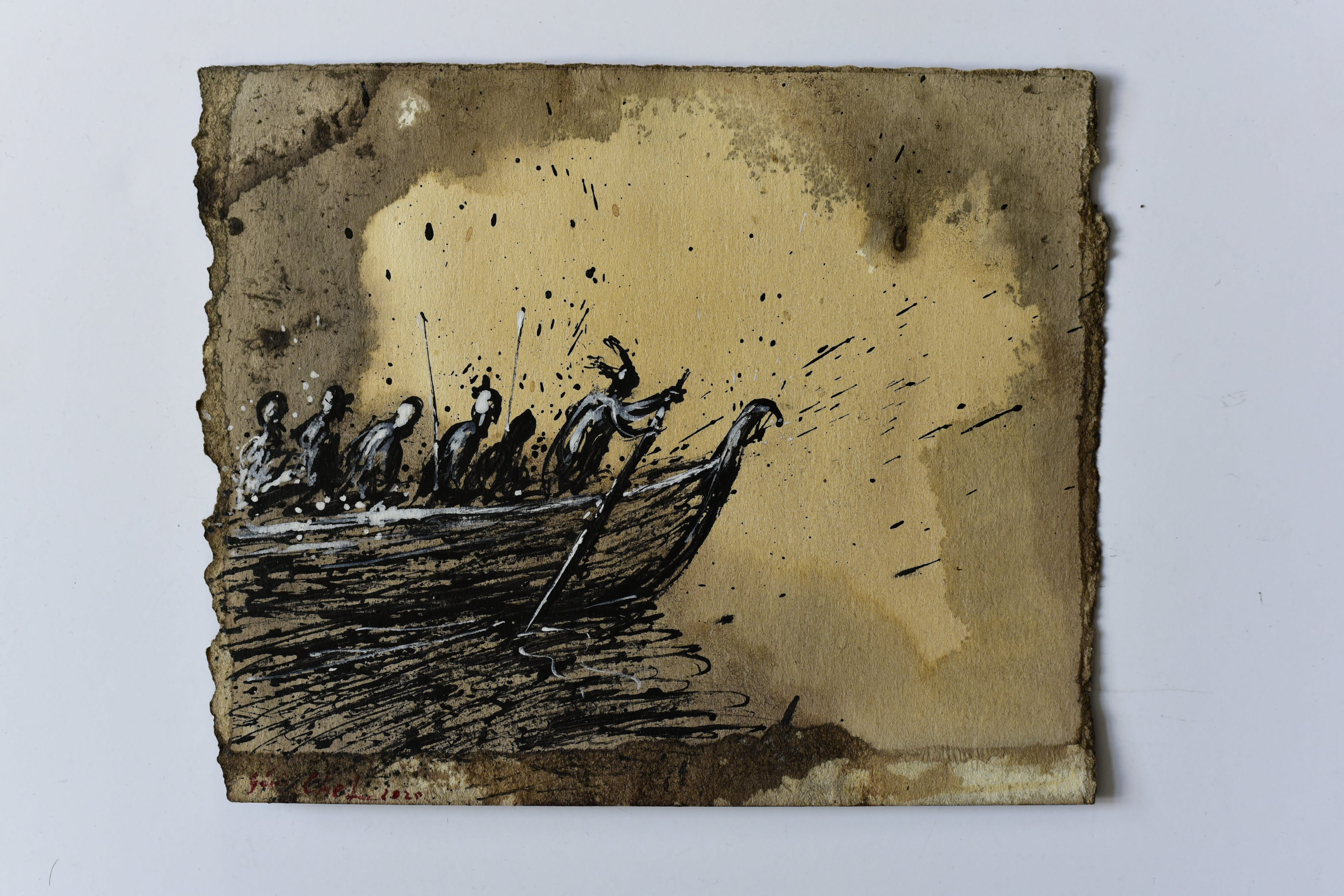 Genia Chef, Aventiure XXV, 1572, Hagen steers the boat of the Burgundians on the way to King Etzel, mixed media on paper, 2020, 18,5 x 23,5 cm