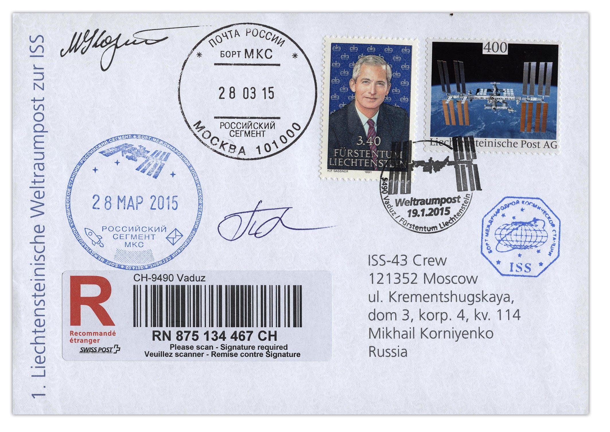 Die erste amtliche liechtensteinische Weltraumpost zur Internationalen Raumstation (ISS), Brief von Regierungschef Adrian Hasler, 2015.
