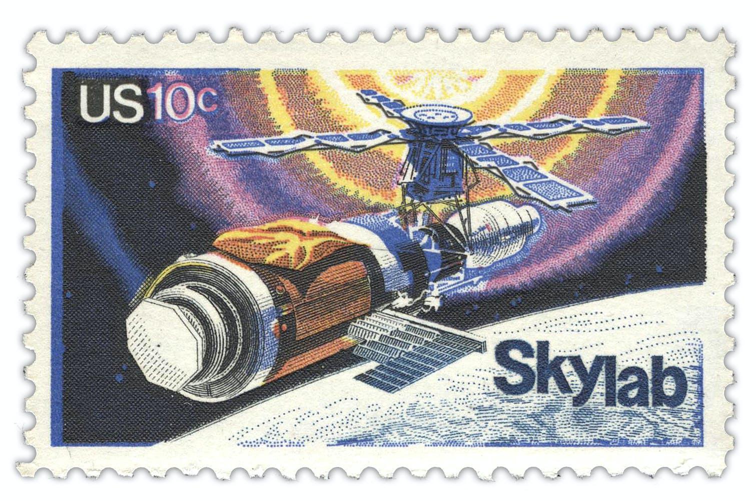US-amerikanische Briefmarke aus dem Jahr 1974, welche die Raumstation Skylab zeigt