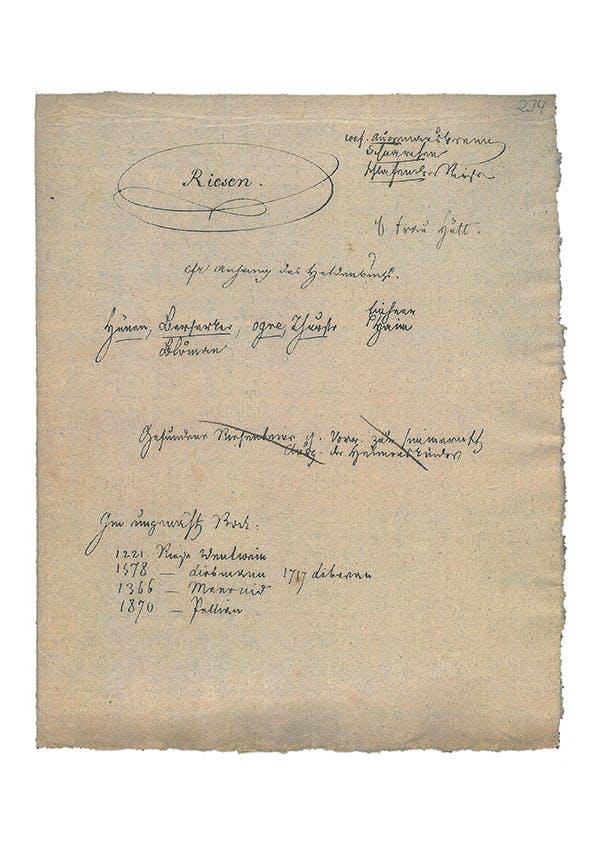 Handgeschriebene Sammlung über Riesen von den Brüder Grimm. Staatsbibliothek zu Berlin – Preußischer Kulturbesitz, Handschriftenabteilung.
