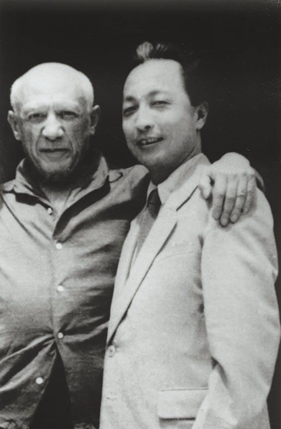 Pablo Picasso mit Zhang Ding, 1956