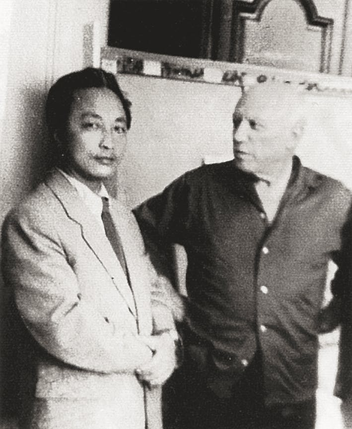 Zhang Ding mit Pablo Picasso, 1956