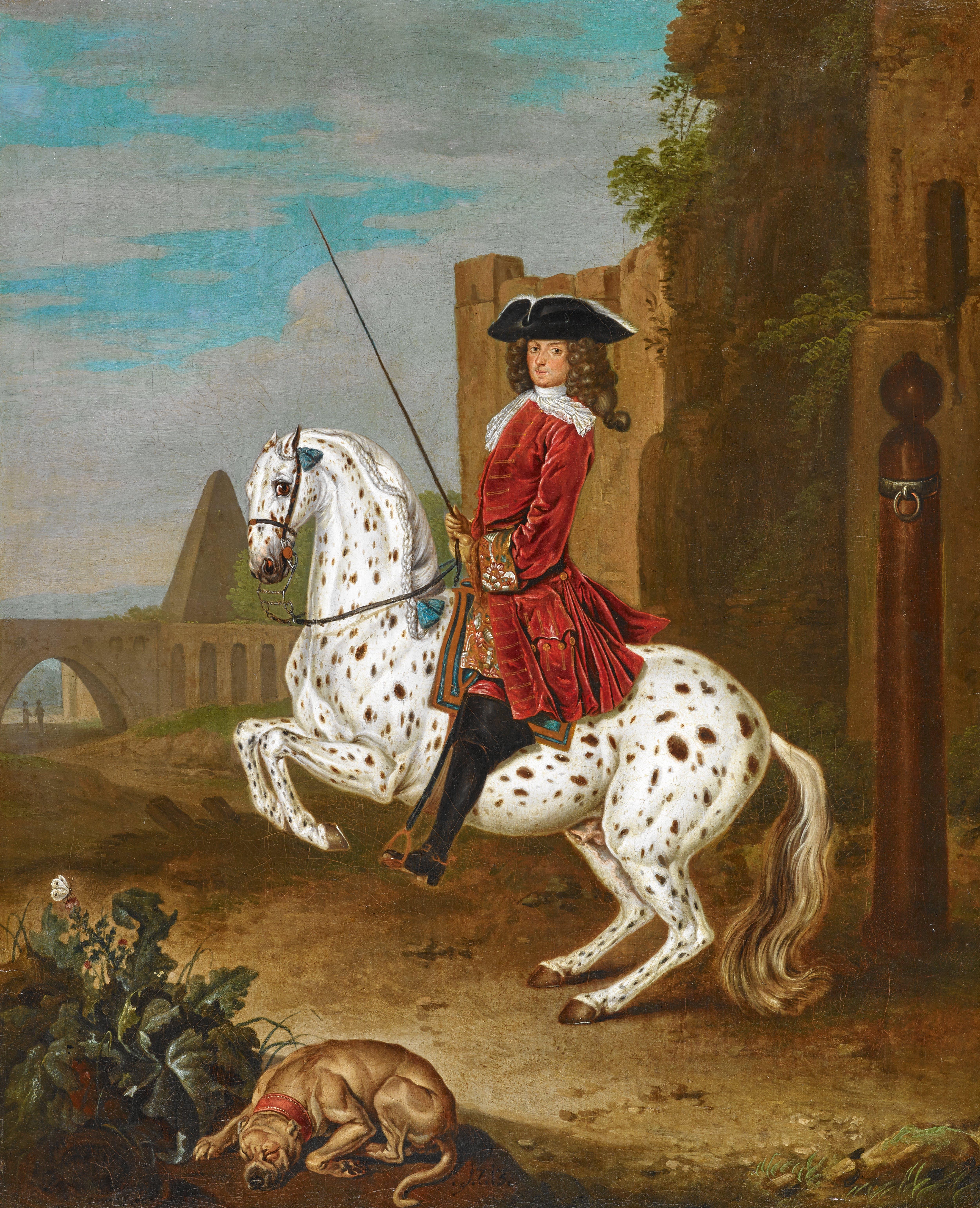 Kavalier in rotem Frack auf einem Apfelschimmel in der Levade
