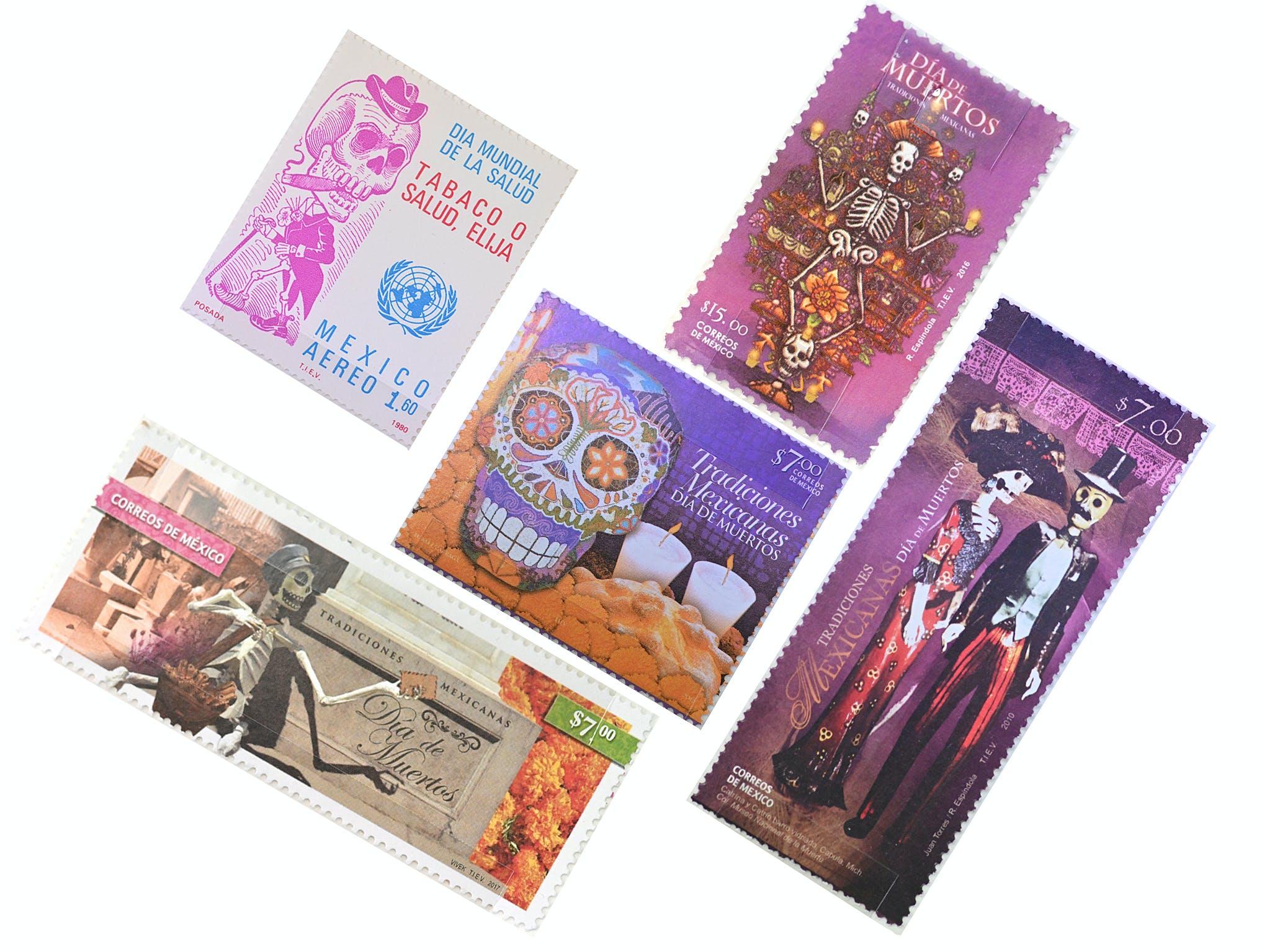 Auswahl an mexikanischen Briefmarken aus der Ausstellung