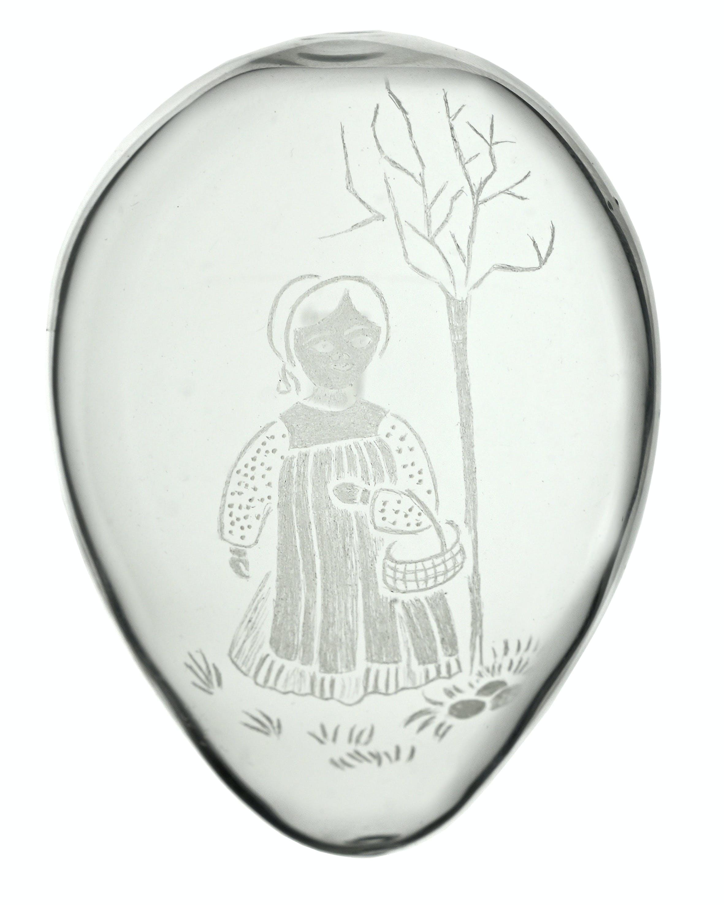 Glasei, mundgeblasen, Rotkäppchen-Motiv in Diamantschliff, Maria Klotz-Schelbert, Schweiz, keine Angabe zur Datierung.